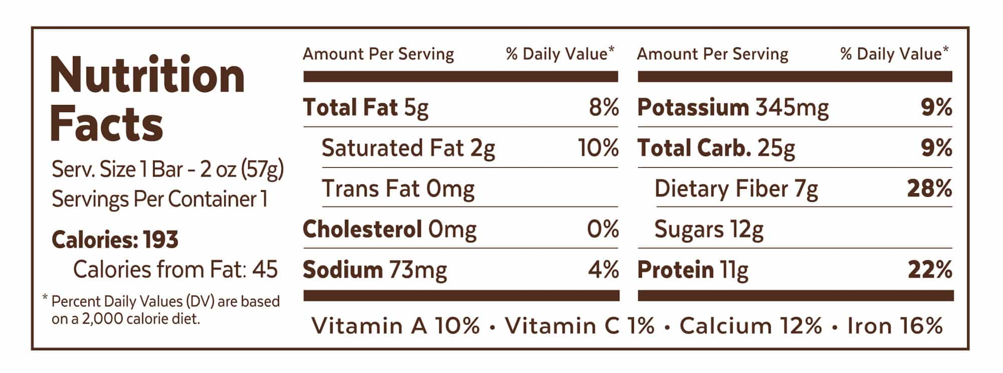 Grab The Gold Nutrition Facts CPB Wrapper 01.18 2000