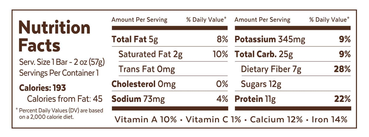 Grab The Gold Nutrition Facts PBJ Wrapper 01.18 2000