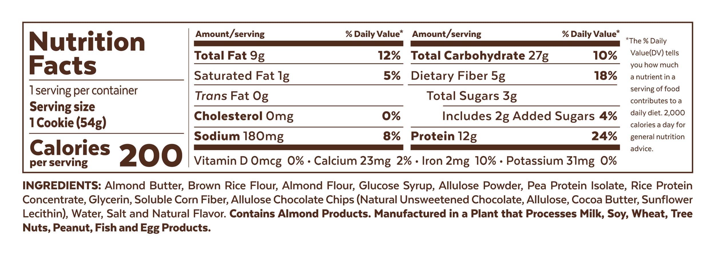 Grab The Gold Nutrition Facts Protein Cookie Chocolate Chip Cookie Dough