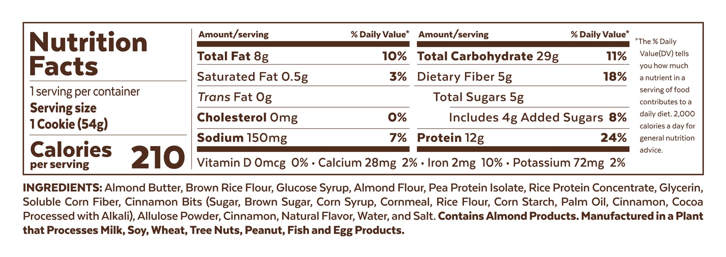 Grab The Gold Nutrition Facts Protein Cookie Cinnamon Coffee Cake