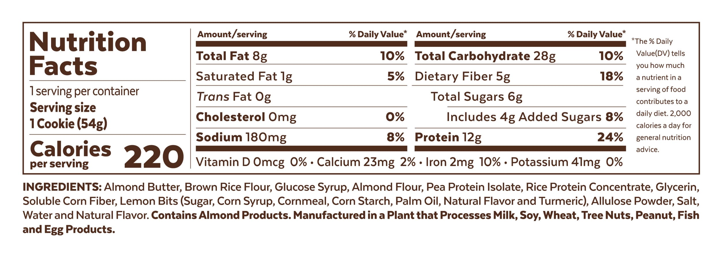 Grab The Gold Nutrition Facts Protein Cookie Lemon Zest